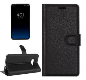 Black Litchi Texture Leather Case with Card Slots for Samsung Galaxy S8
