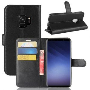Black Leather Wallet Flip Case with Card Slot for Samsung Galaxy S9