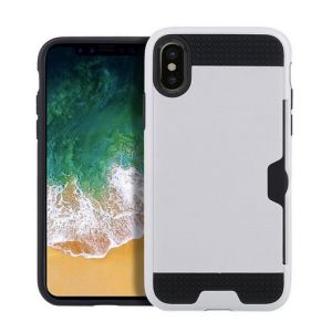 iPhone X White Tough Two Piece Case with Card Slots