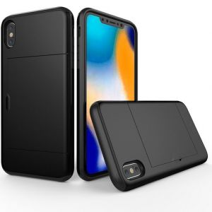 iPhone XS Max Black Two Piece Tough Case with Card Slots