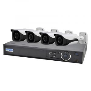 Front view of 4 bullet cameras and DVR.