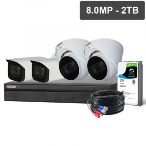 Compact 8 Channel 8.0MP HDCVI Surveillance Kit (4 x Motorised Cameras, 2TB HDD)