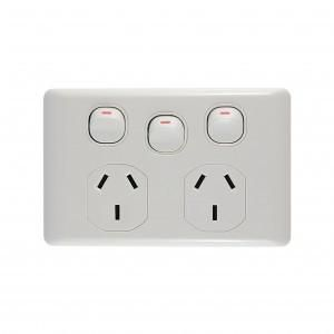 BASIX Power Outlet Double 10A + Switch 16A