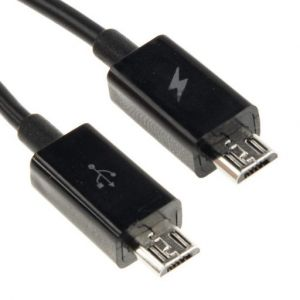 Image showing both ends of the Micro USB Male to Male Data & Charging Cable