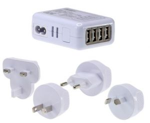 Front view of the World Wide USB Charging Adaptor showing the interchangeable wall plugs for Australia, USA, Europe and UK.