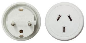 Front and rear view of the Outbound International Travel Adaptor