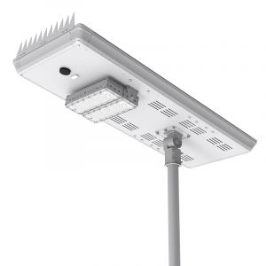 50W solar LED street light mounted on pole.
