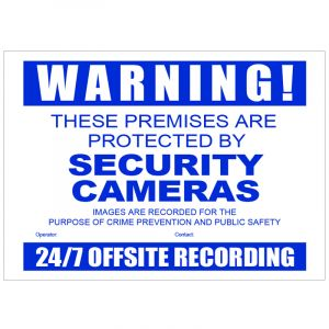Front view of CCTV warning sign.