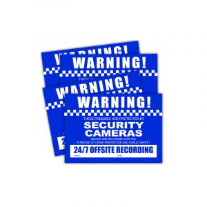 Front view of small CCTV warning stickers.