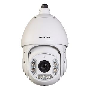 Front view of PTZ dome camera.