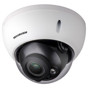 Side angle view of dome camera.